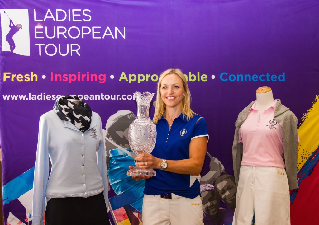 27/04/2015 The 2015 Solheim Cup Clothing is unveiled at the LET European Masters Media Day.