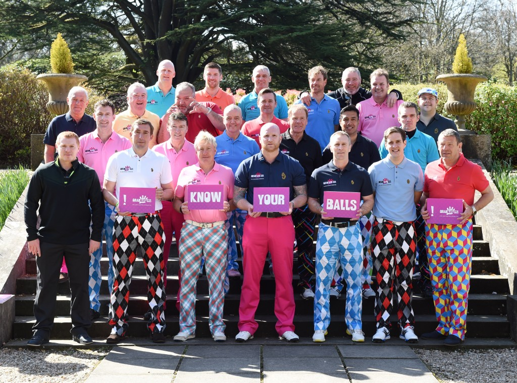21/04/15  MAR HALL - BISHOPTON Famous sporting legends join John Hartson (below centre) to launch the John Hartson Foundation's new testicular cancer awareness campaign at the charity's annual golf day