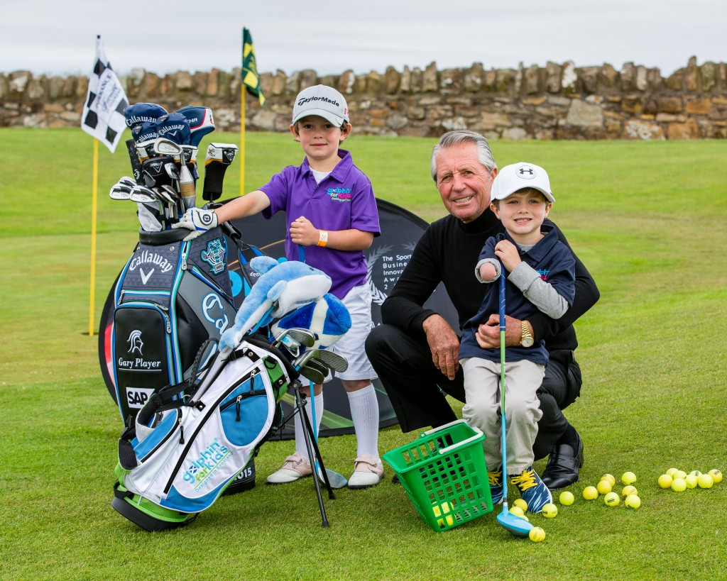 Picture by John Young - YoungMedia.co.uk  Junior golf sensations Jack Dirkin (5) and Tommy Morrissey (4) got to meet golf legend Gary Payer in St Andrews as they tried out new revolutionary kids golf clubs designed in Scotland.  Five-year-old Jack from Shropshire, the UKs number one Under-5 golfer, has qualified for the World Under-6 championships in Pinehurst, Carolina, at the end of July 2015. Mean while Tommy, from Florida, who is already an internet and tv star due to his golfing ability despite being born without a right hand and lower arm.  Golphin for Kids is a Scottish company whoes founder Calum McPherson invented a light weight golf club with a larger sweet spot to make it easier for kids to hit the ball well.  Picture by John Young © www.youngmedia.co.uk 2015