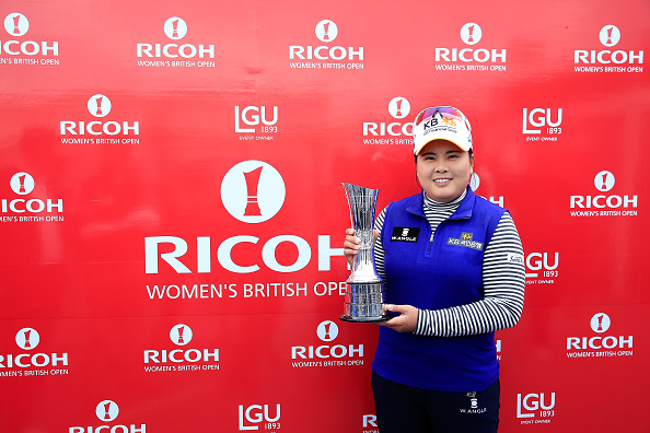 TURNBERRY, SCOTLAND - AUGUST 02:  Inbee Park of South Korea poses with the trophy following her victory during the Final Round of the Ricoh Women