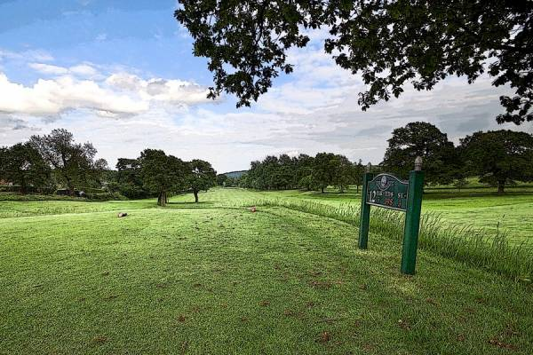 A painting of Alderley Edge Golf Club 12th Hole