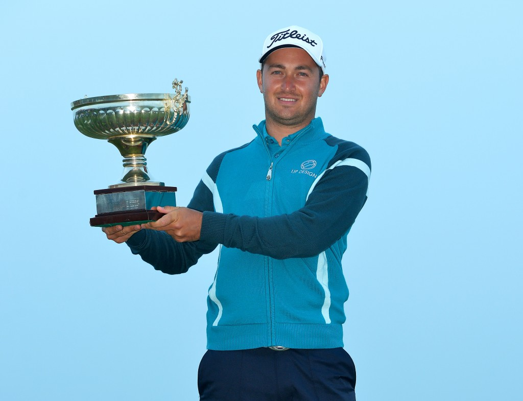 FUNCHAL, MADEIRA, PORTUGAL - MAY 11 :  Daniel Brooks of England celebrates winning the Madeira Islands Open - Portugal - BPI at Club de Golf do Santo da Serra on May 11, 2014 in Funchal, Madeira, Portugal. (Photo by Mark Runnacles/Getty Images)
