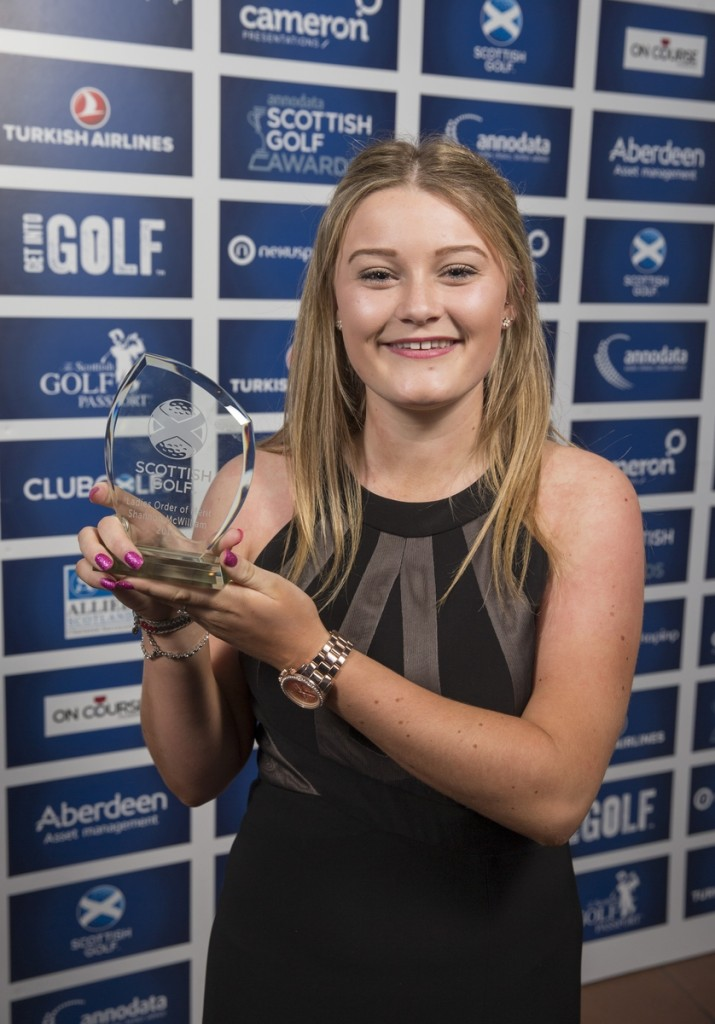 Shannon McWilliam, 2015 Women's Order of Merit winner, pictured after receiving her award at the Annodata Scottish Golf Awards earlier this month. (pic Kenny Smith) Pic Kenny Smith, Kenny Smith Photography Tel 07809 450119