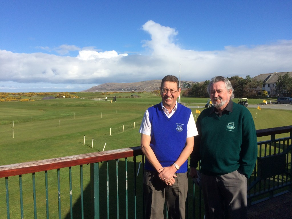 Conwy Golf Club Secretary Chris Chance with Captain Gerry Grimes