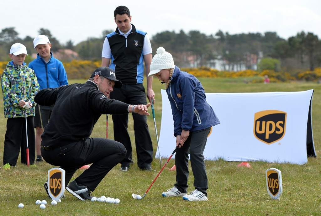 TROON, SCOTLAND - MAY 06: UPS Ambassador Lee Westwood of England at a local schools golf clinic as he hands over Ping junior golf sets during the Bags 4 Birdies Campaign at Royal Troon on May 6, 2016 in Troon, Scotland. (Photo by Mark Runnacles/Getty Images for UPS) *** Local caption *** Lee Westwood
