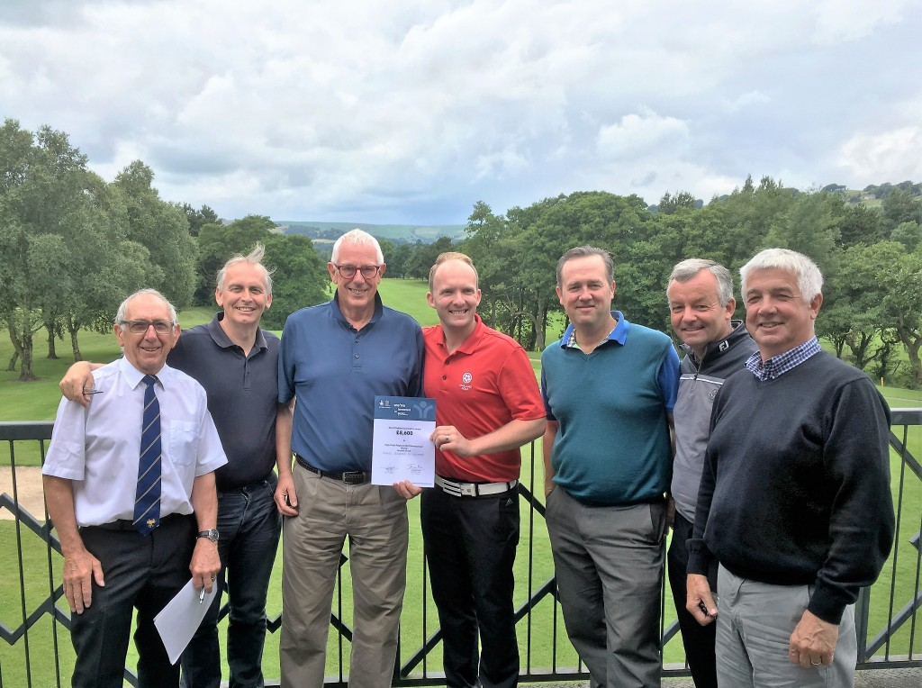 (left to right) Tony Gee (Buxton High Peak GC), Chris Hall (New Mills GC), Ric Boffey (New Mills GC & Group Chairman) with regional officer Gareth Shaw (England Golf), Simon Townend (Cavendish GC), Dave Cullen (New Mills GC) and Pat Campbell (Cavendish GC).