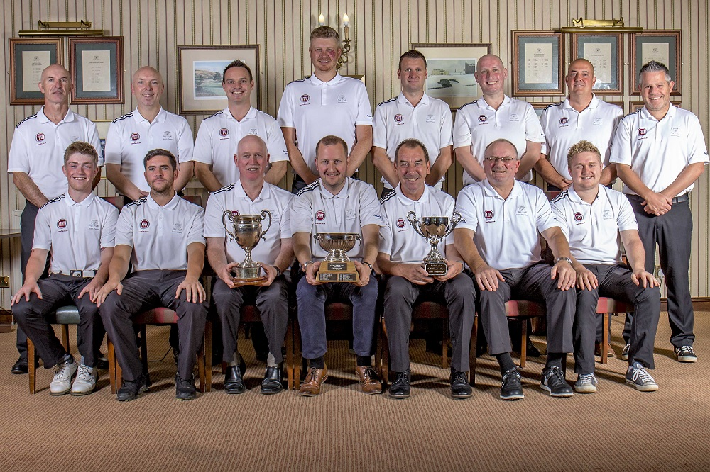 Ramside Golf Club's record breaking golf team – L to R BACK ROW: John Kirkpatrick, Paul Atkinson, Matthew Moore, Chris Hewitt, Steven Dance, Stephen Foster, Michael Finley FRONT ROW: Jake Heron, Joe Hellens, Captain David Heckles, Neil Heilbron – FIAT Chrysler (Sponsor), Vice Captain Trevor Bowman, Gordon Dance, Matthew Stephenson, Graeme Willis.