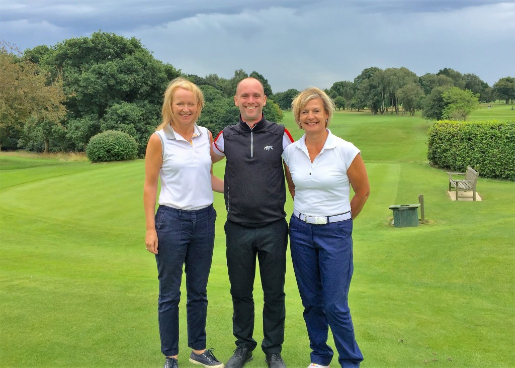 St Andrews here we come . . .  Fiona Wooley (left) and Sally Kay with The Wilmslow Golf Club's PGA professional Matthew Gillingham. The ladies have reached the final of the Peugeot LGU Coronation Foursomes.