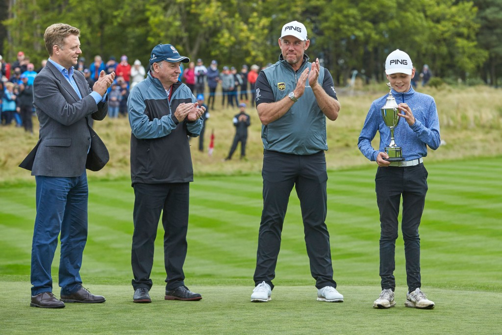 From left: European Tour Chief Commercial and Marketing Officer Nathan Homer, Close House Owner Graham Wylie, Lee Westwood, and 2017 winner Henry Joynson