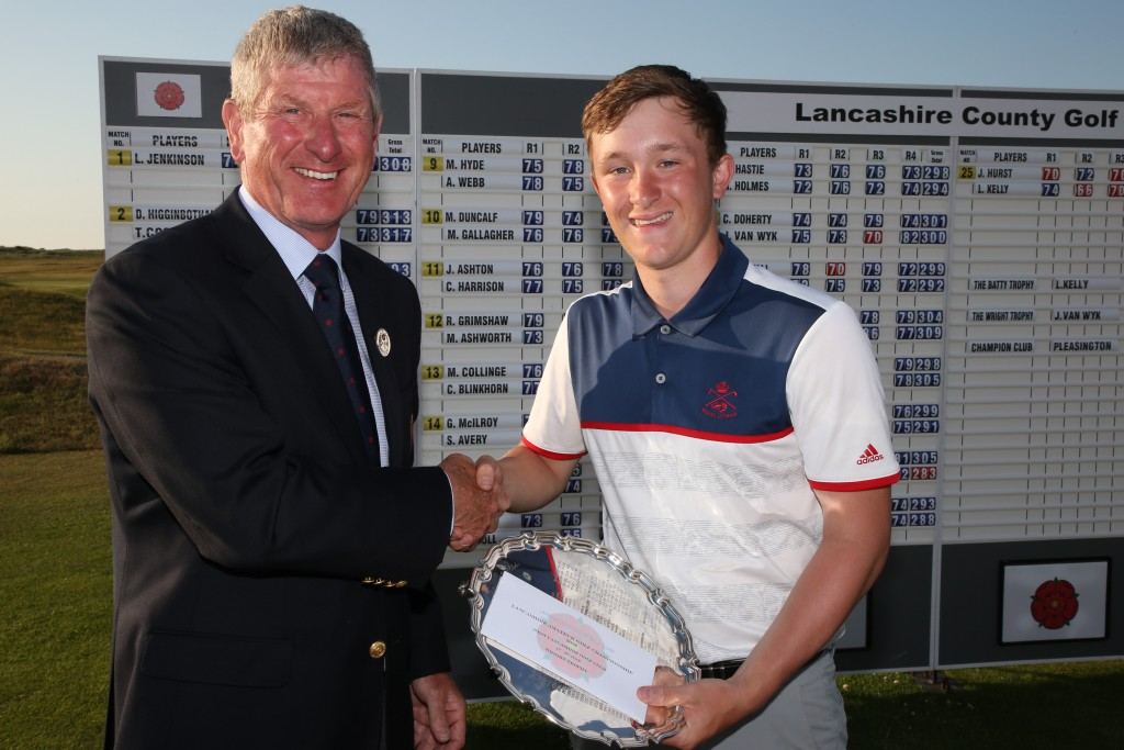 Wright Trophy (best 36-hole nett) winner Jamie van Wyk (Royal Lytham and St Annes GC) receives the trophy from Mike Lay, Lancashire Union of Golf Clubs President. Picture: RAYMOND FARLEY