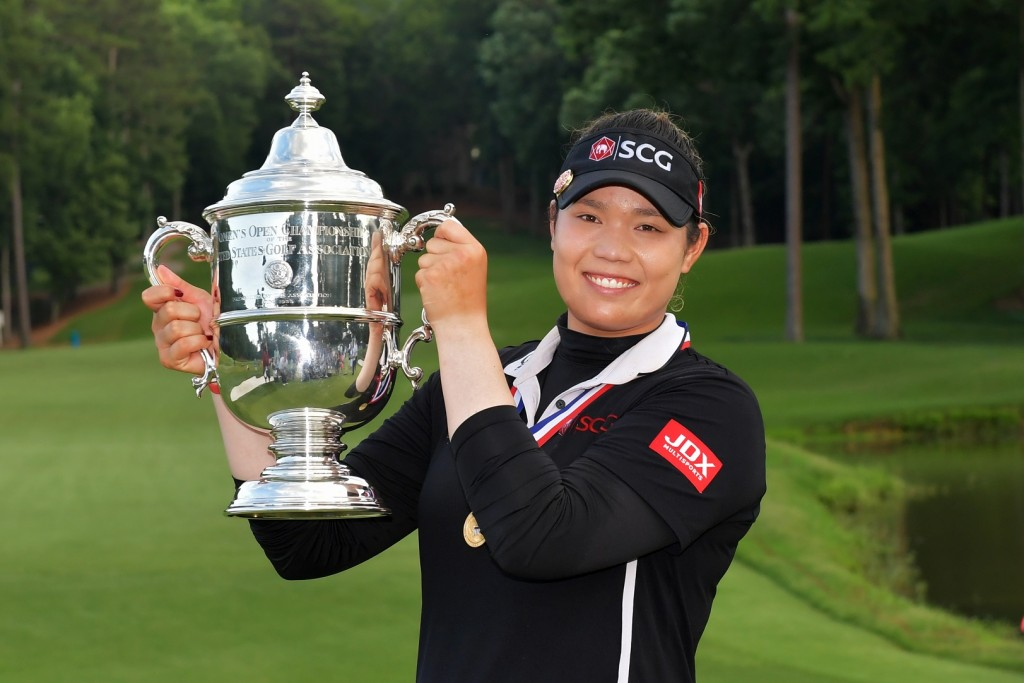SHOAL CREEK, AL - JUNE 03:  Ariya Jutanugarn of Thailand poses with the trophy after winning  the 2018 U.S. Women's Open at Shoal Creek on June 3, 2018 in Shoal Creek, Alabama. (Photo by Drew Hallowell/Getty Images)