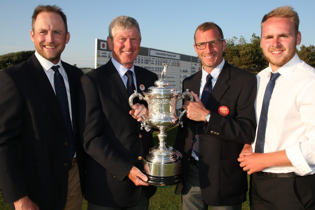 Pleasington Golf Club finished as Champion Club, with Michael Hunt, Jonathan Hurst, Lewis Boyle being presented with the trophy by Mike Lay, Lancashire Union of Golf Clubs President. Picture: RAYMOND FARLEY