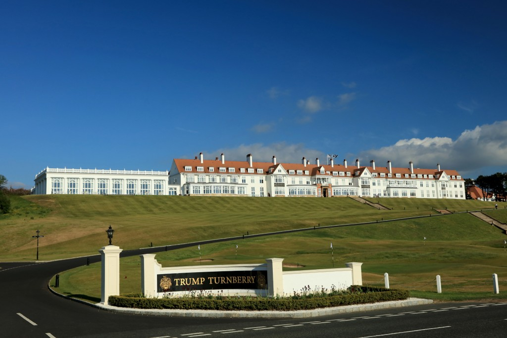 on the King Robert the Bruce Course at the Trump Turnberry Resort on May 29, 2018 in Turnberry, Scotland.