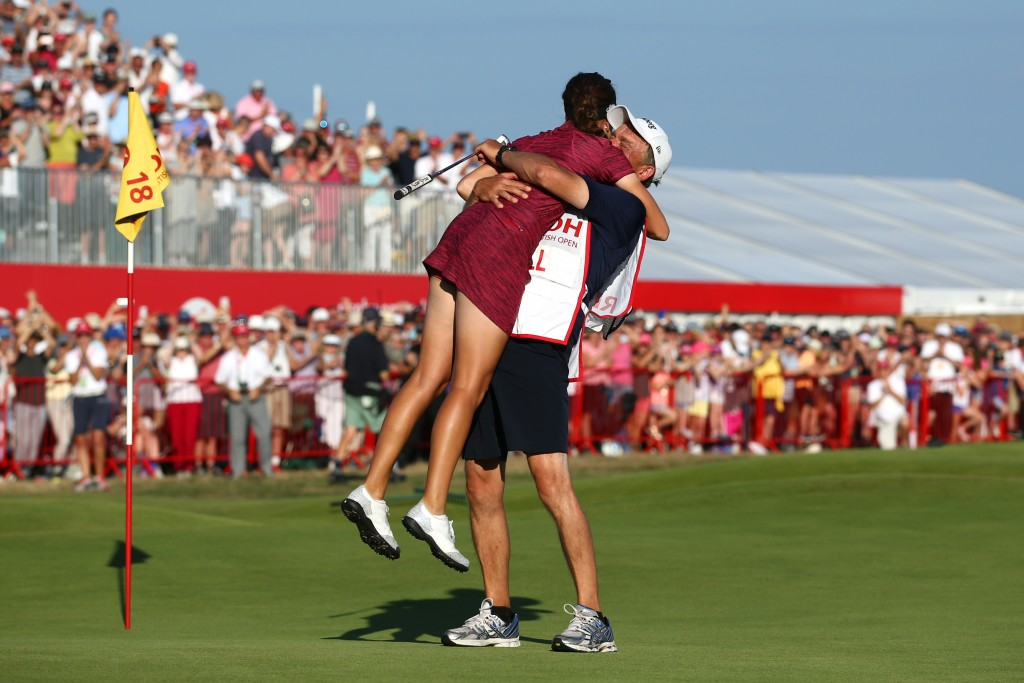LYTHAM ST ANNES, ENGLAND - AUGUST 05:  Georgia Hall of England celebrates with her father / caddie Wayne Hall on the 18th green during the final round of the Ricoh Women's British Open at Royal Lytham & St. Annes on August 5, 2018 in Lytham St Annes, England. (Photo by Jan Kruger/WME IMG/WME IMG via Getty Images)