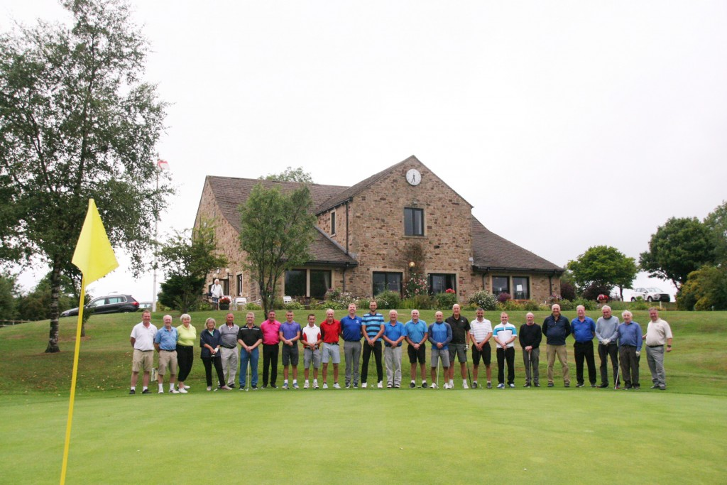 Golfers gather in front of the clubhouse at Skipton ahead of the first competition on the new-look course.