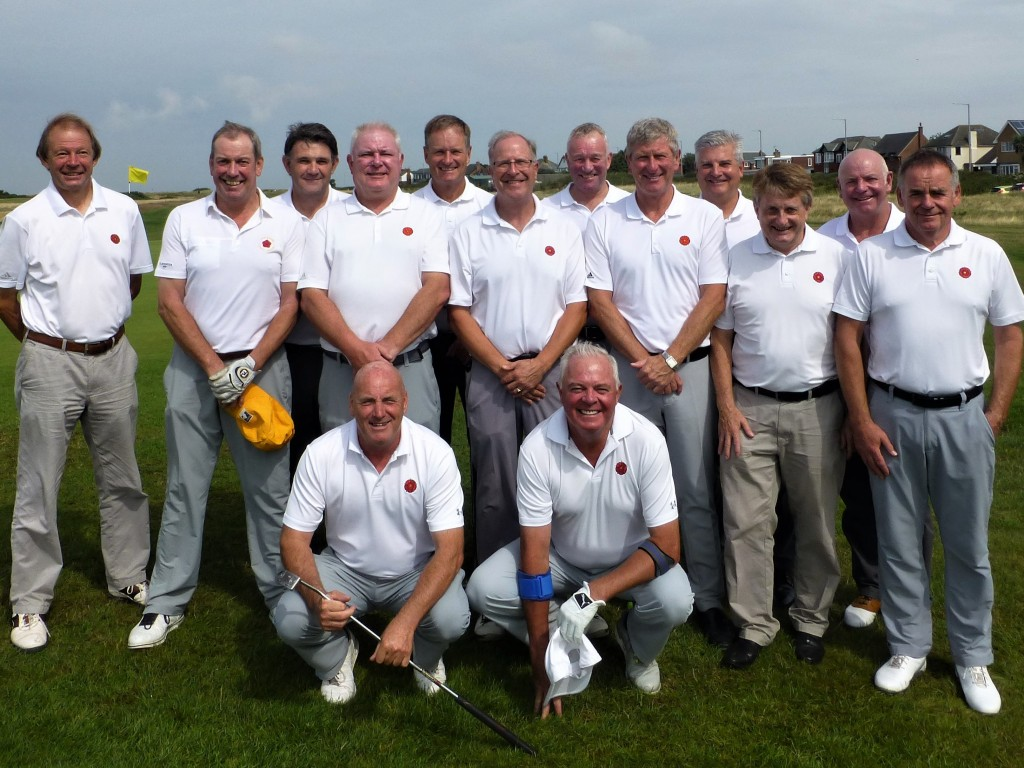 Lancashire's successful Northern Qualifier team with Lancashire County Union President Mike Lay (third left) and team captain Mike Gray (fifth left).