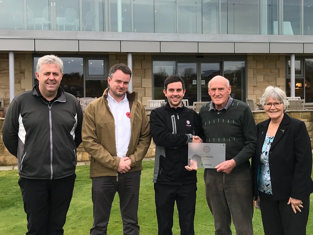 Hurlston Hall Golf Club receives their award for GolfMark (left to right) Tim Hastings, club professional, Andrew Chessworth-Wiggar, General Manager, Adam McAlister, club support officer in Lancashire for England Golf, John Walker, club chairman and GolfMark lead, and Irene Traynor, Hon Secretary