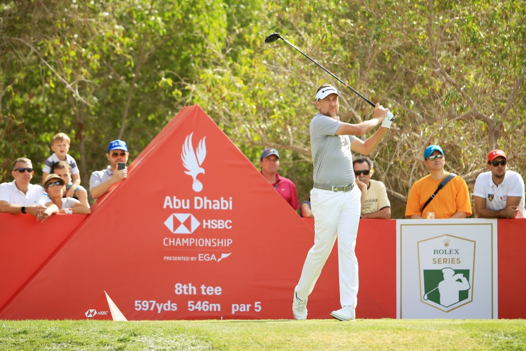 ABU DHABI, UNITED ARAB EMIRATES - JANUARY 18: Ian Poulter of England plays his shot from the eighth tee during Day Three of the Abu Dhabi HSBC Golf Championship at Abu Dhabi Golf Club on January 17, 2019 in Abu Dhabi, United Arab Emirates. (Photo by Andrew Redington/Getty Images)