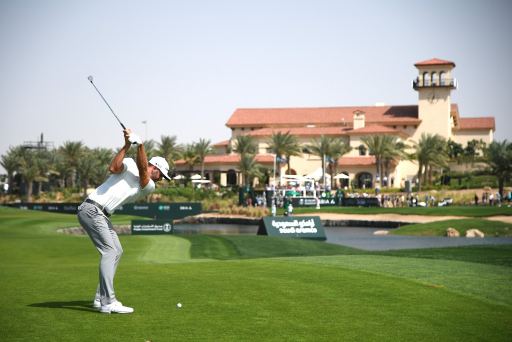 Dustin Johnson shot to the top of the leaderboard in the Saudi  International with a superb 61 at the Royal Greens Golf & Country Club. Picture by GETTY IMAGES