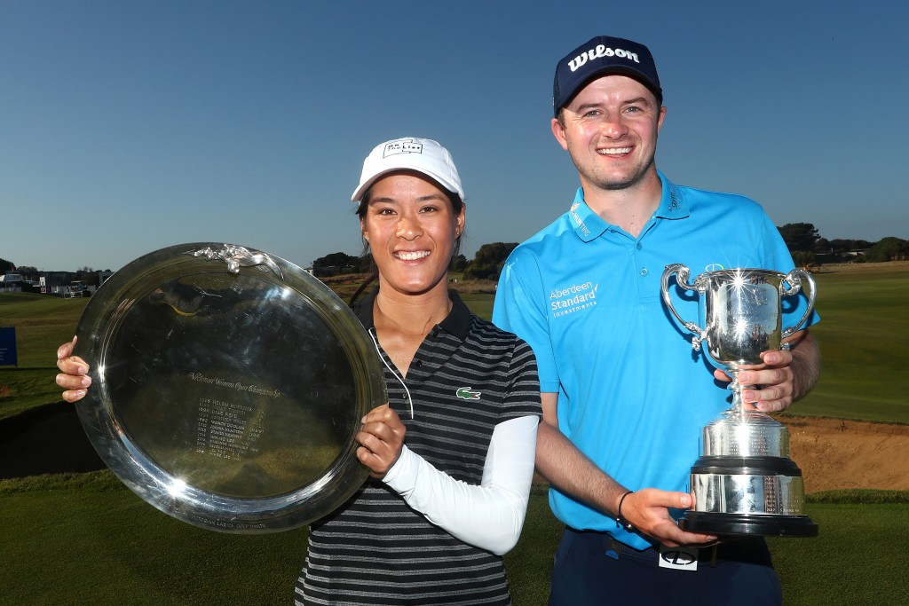 ISPS Handa Vic Open winners David Law and Celine Boutier. Picture by GETTY IMAGES