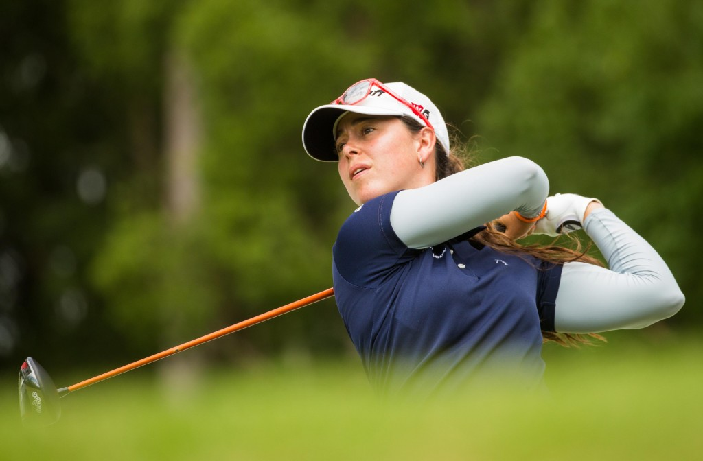 Nuria Iturrios has changed her swing over the winter for a lower ball flight which worked well in the second round of the Pacific Bay Resort Australian Ladies Classic, at Bonville Golf Resort. Picture by TRISTAN JONES