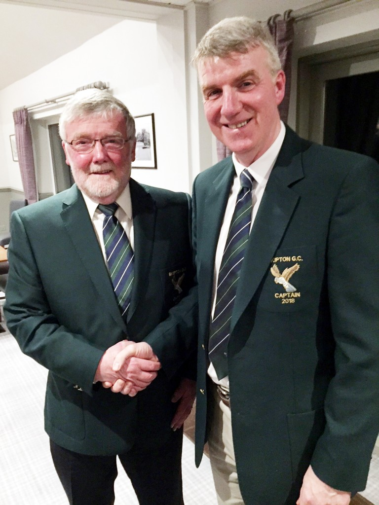 Bill Simpson, left, Skipton Golf Club's new men's captain, with outgoing captain Gerald Corrigan.