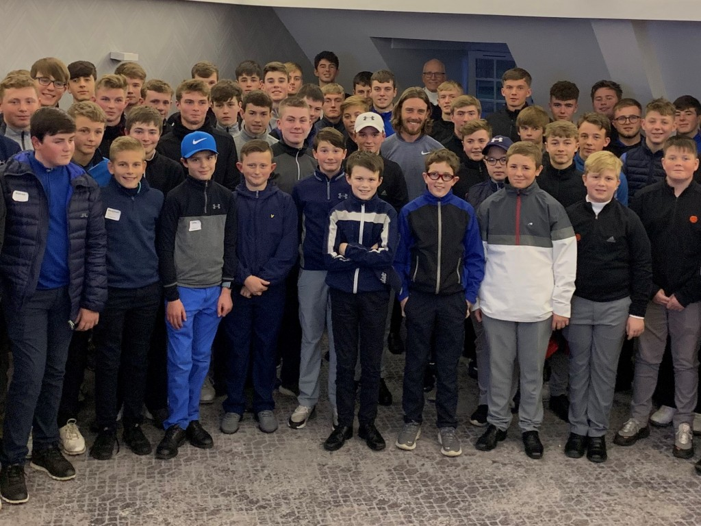 Spot the star …. former Lancashire county player Tommy Fleetwood – now number 14 in the world – with members of the Lancashire boys' training squads when the Ryder Cup star shared some of his lessons from his formative years as a golfer