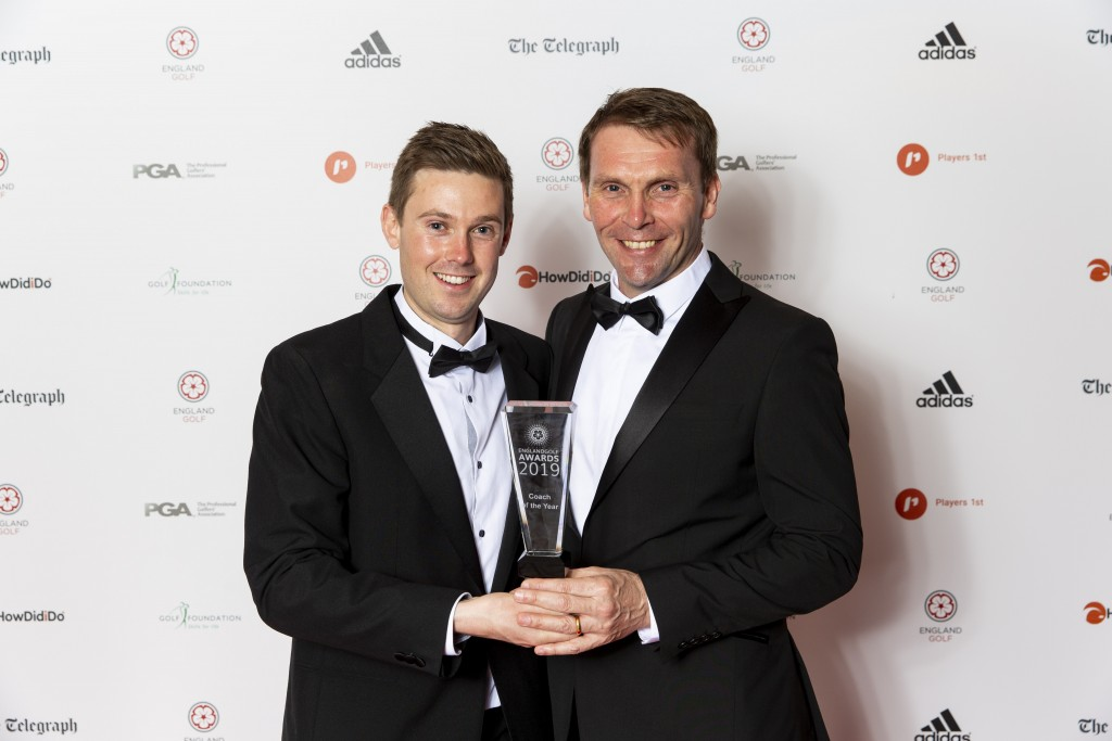 Lansberry (left) received his England Golf Coach of the Year Award from Richard Maxfield, chief executive of The PGA