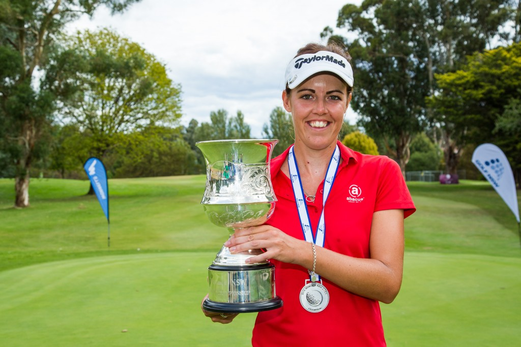 Wellingborough's Meghan Maclaren with the New South Wales Women's Open trophy after her three-shot win at Queanbeyan Golf Club. Picture by TRISTAN JONES