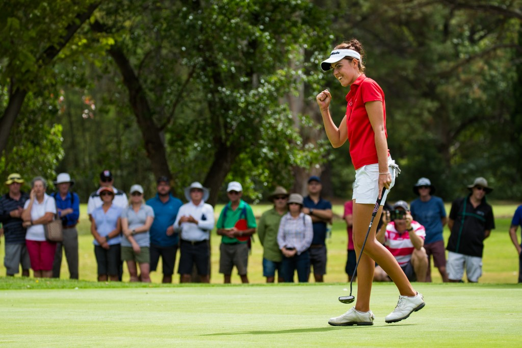 Maclaren salutes her win on the 18th after holding off Sweden's Lynn Carlsson and Kiwi Munchin Keh. Picture by TRISTAN JONES