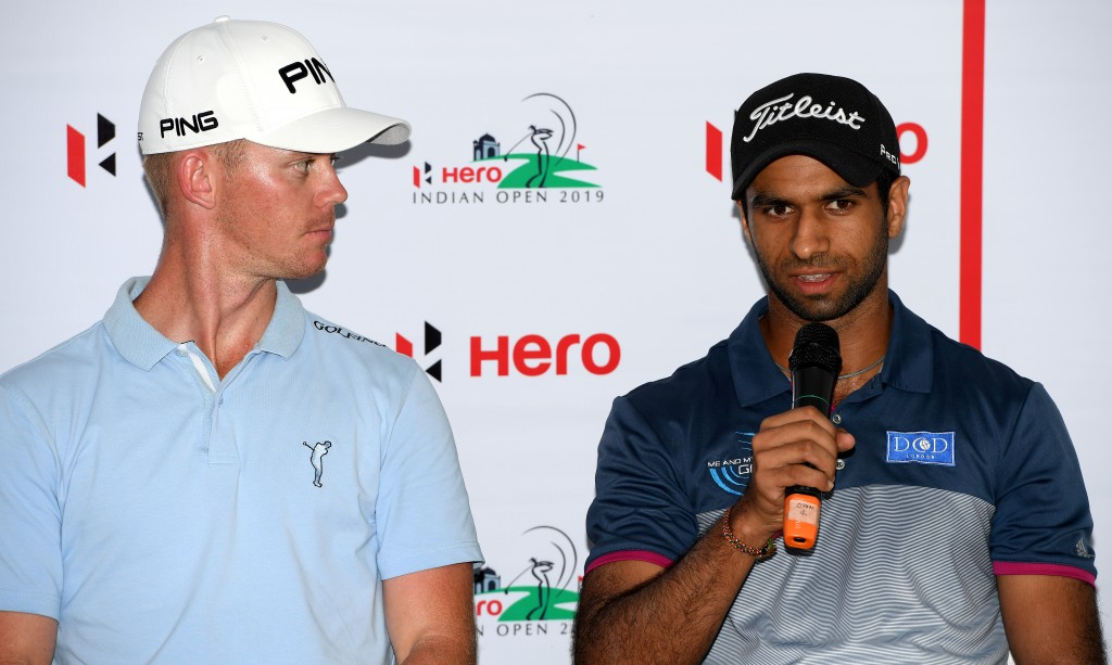 Brandon Stone and Aaron Rai (right) at the DLF Golf and Country Club ahead of this week's Hero Indian Open. Picture by GETTY IMAGES