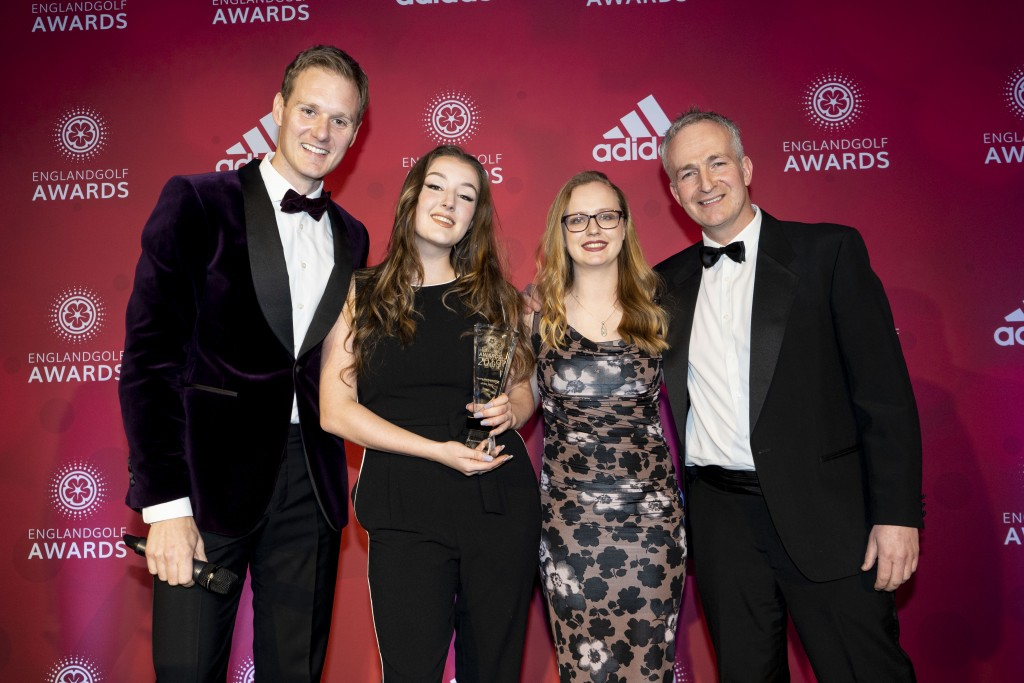 LEFT TO RIGHT: England Golf Awards host Dan Walker, Young Ambassador of the Year Lou McLoughlin, England Golf's Emma Anderson and Brendon Pyle from the Golf Foundation