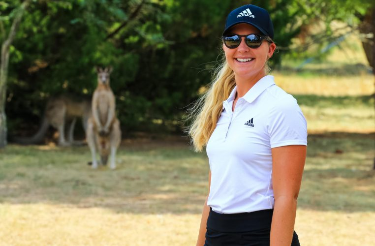 Sweden's Linnea Ström got to check out the kangaroos during practice for the Ladies European Tour's Canberra Classic at Royal Canberra. Picture by TRISTAN JONES