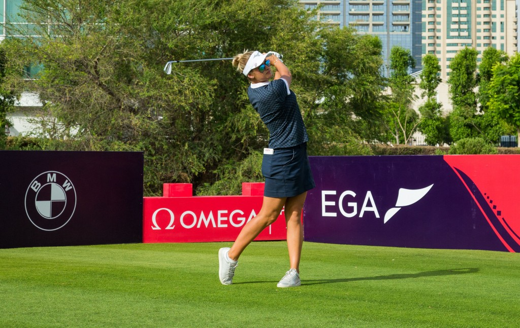 Amy Boulden during a practice round on the Faldo Course for this week's Omega Dubai Moonlight Classic. Picture by TRISTAN JONES