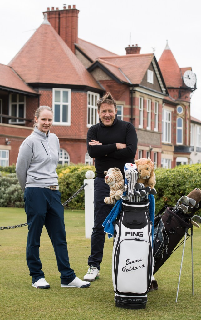 Hoylake LET pro Emma Goddard with legal firm Gateley's John Burns after the Royal Liverpool pro received one of the LET's Gateley grants to support her education.