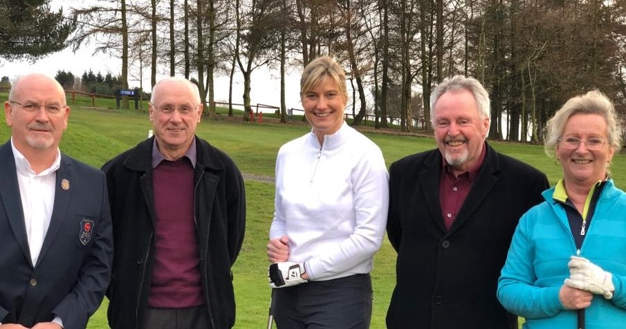 CAPTION: Lady Captain Helen Parkinson (centre) at her drive-in with Steve Fox (Captain), Ian Kennedy (President), John McManus (Vice Captain) and Trudy Atherton (Lady Vice Captain)