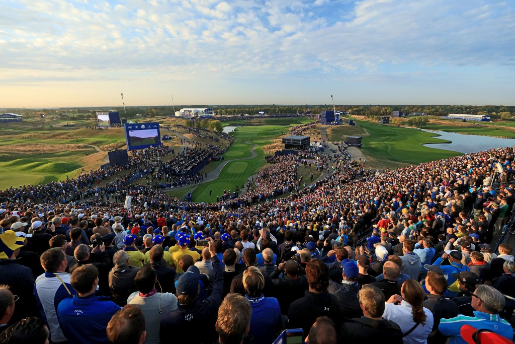 A record crowd of more than 270,000 watched Europe inflict the biggest defeat on the USA in Ryder Cup history – with millions watching on TV and following events at Paris's Le Golf National via social media. Picture by GETTY IMAGES