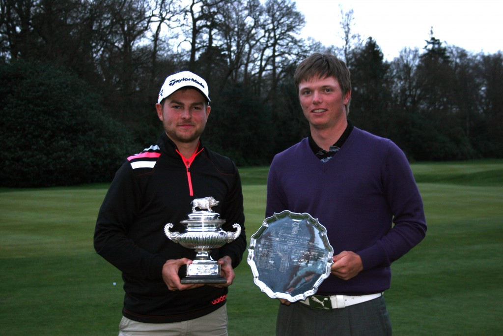 Hampshire Hog winner Bowood's Jordan Smith (left) with Moor Park's Callum Shinkwin, winner of the Hampshire Salver in 2013. Picture by ANDREW GRIFFIN