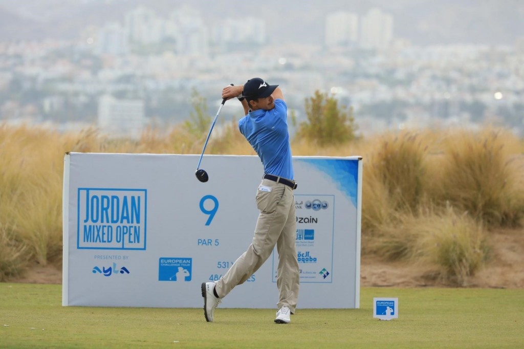 Dutchman Daan Huzing tees off at the par five ninth in the first round of the Jordan Mixed Open, at Ayla Golf Club. Picture by GETTY IMAGES