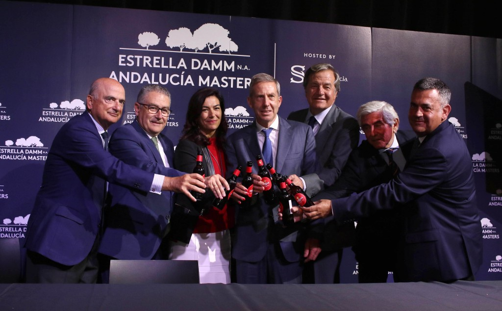 Representatives of the European Tour sponsors Estrella Damm and the Andalucia Tourism Board announcing the new five-year deal to host the Andalucia Masters at Valderrama, from the end of June. Picture by FERNANDO HERRANZ