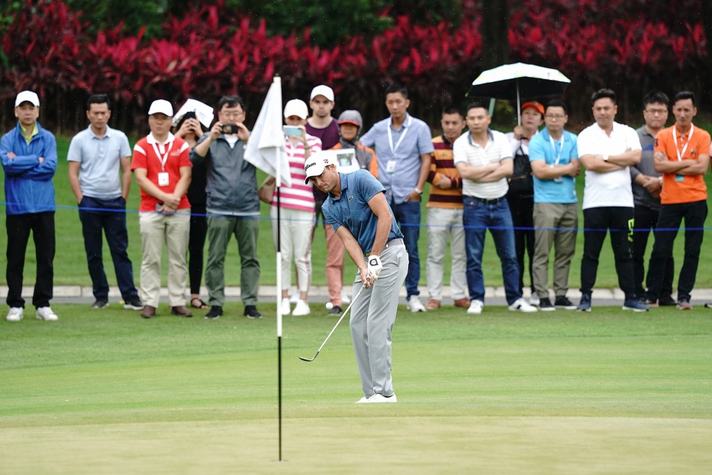 Frenchman Benjamin Herbert, who has won six times on the European Challenge Tour, stormed to the top of the leaderboard in the Volvo China Open, with a third round  64, equalling the European Tour record with 28 for his final nine holes. Picture by GETTY IMAGES
