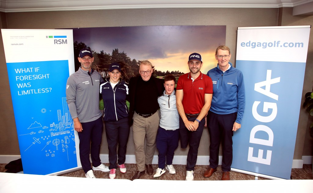 LEFT TO RIGHT: Paul Waring, Caroline Mohr,  Keith Pelley, Brendan Lawlor, Juan Postigo Arce and EDGA president Tony Bennett. Picture by GETTY IMAGES