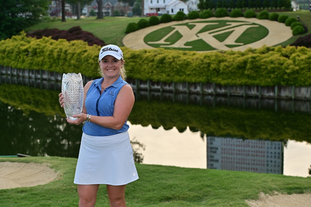 """Bramhall Hall's Bronte Law with the Pure Silk Championship trophy after her victory at the Kingsmill Resort. Picture by GABE ROUX / LPGA"""""""
