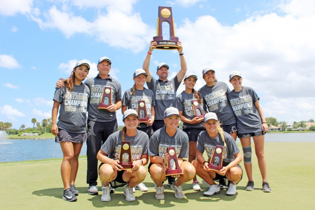 The Florida Tech team that pulled off a fairytale success in US collegiate golf. Skipton's Lucy Eaton is pictured front left.