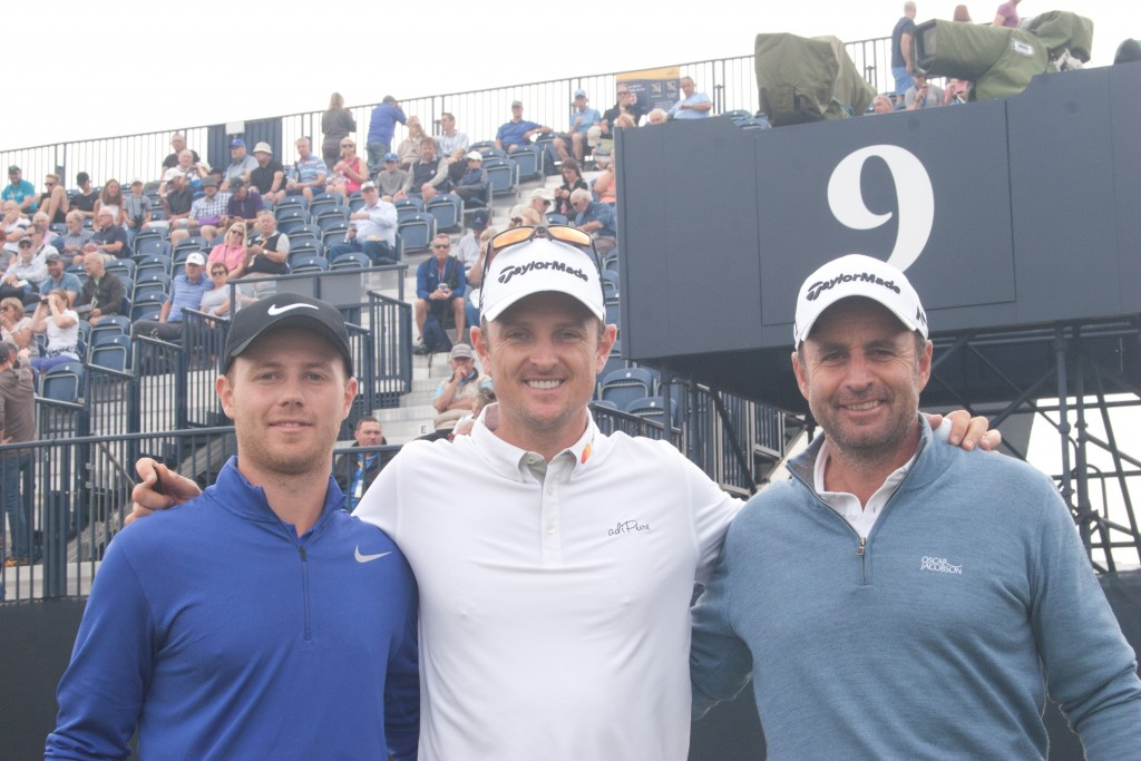 Richard Bland (right) during practice at the 2017 Open at Royal Birkdale, with Justin Rose and Harry Ellis. Picture by ANDREW GRIFFIN / AMG PICTURES
