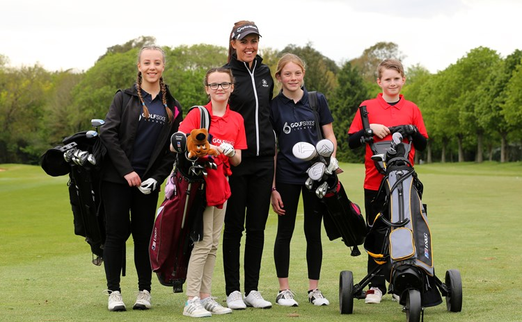 LET winner Meghan MacLaren with GolfSixes League team players, at Golf at Goodwood. Picture by  SAM STEPHENSON