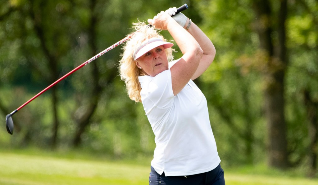 It was third time lucky for Pyecombe's Aileen Greenfield, who took the English Senior Women's Strokeplay title at St Enodoc, in Cornwall, having been runner-up in the championship twice in 2015 and 2016. Picture by LEADERBOARD PHOTOGRAPHY