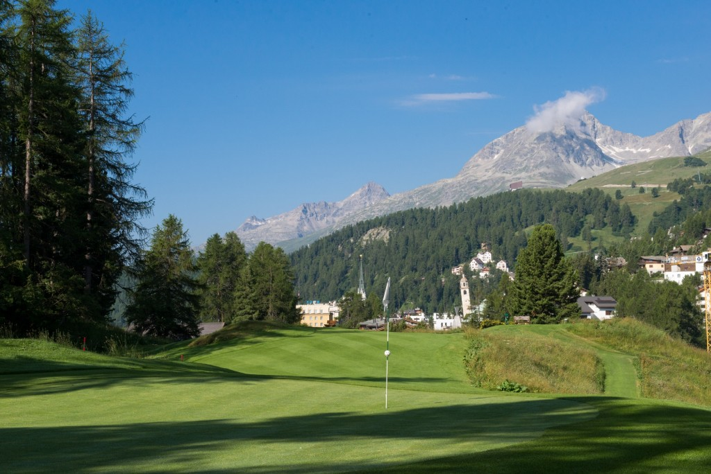 Kulm Golf St Moritz with the Kulm Hotel in background