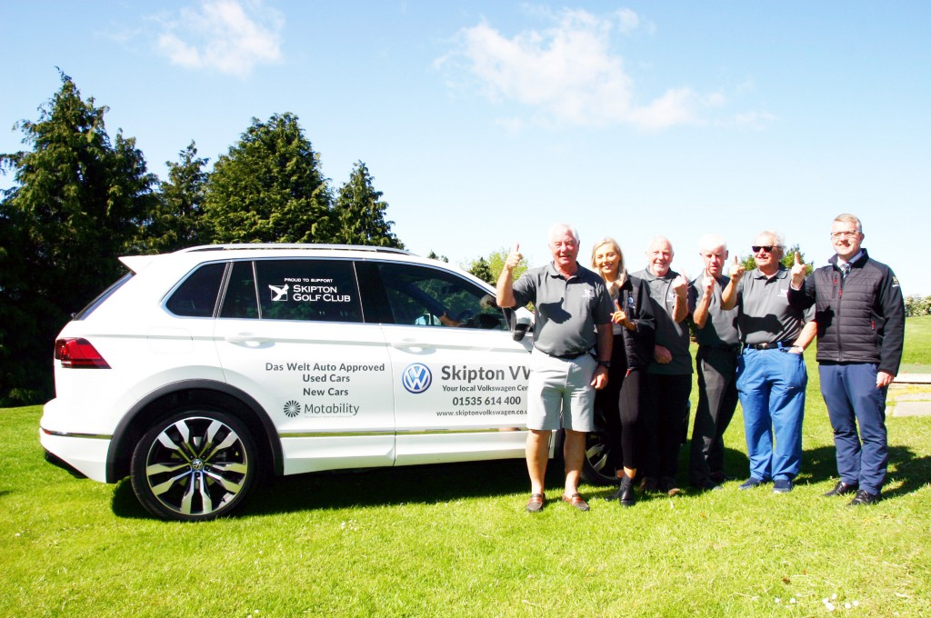 One to go for. Pictured at Skipton Golf Club at the announcement of the Skipton Volkswagen sponsorship deal are, from left, Rabbits section captain Roger Moore, Skipton VW sales executive Georgia Tallant, section members Jim Fox, Phil Lawler and Ross Adley, and the club's business manager, Simon Bradley.