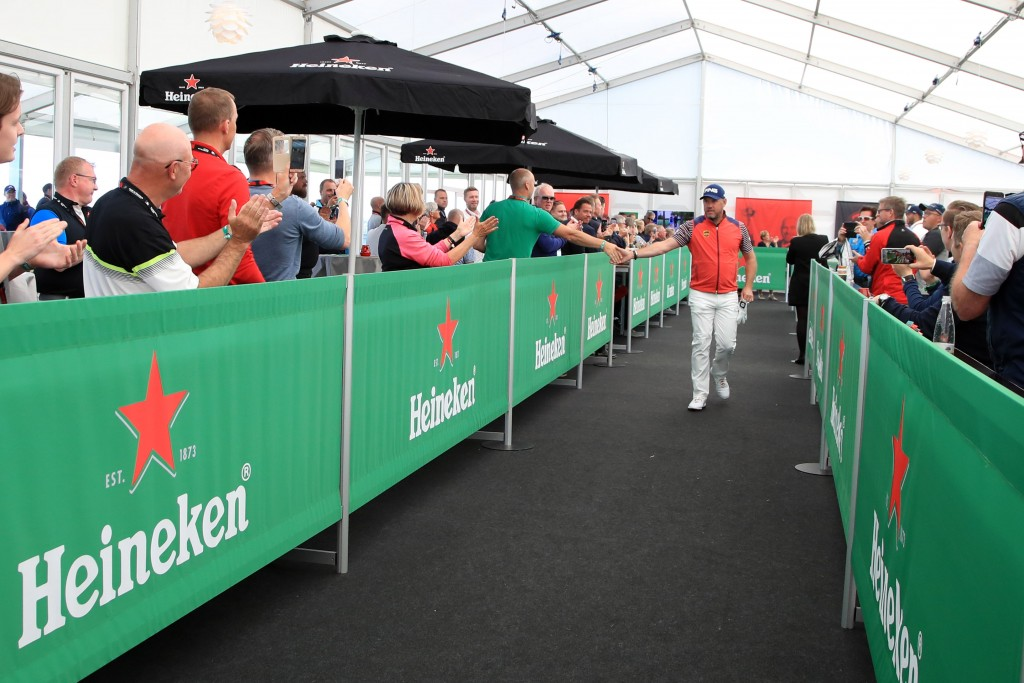 Made in Denmark's Heineken beer tent between the 13th green and 14th tee